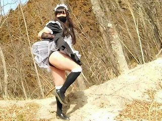 Cute Maid Perverted Transgender Ejaculating Amp Peeing In The Depths Of A Decaying Mountain