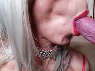 Rachelsexymaid 46 Blonde Shemale Blowjob With Cum Swallow
